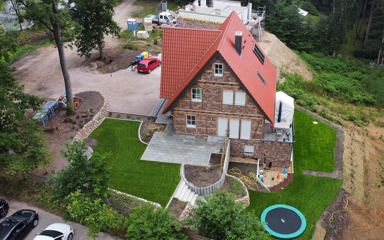 Fachwerkhaus mit Rotklinker Neubau Bauplanung