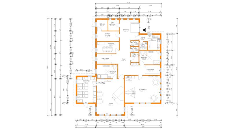 Zeichnerische Darstellung des Neubaus